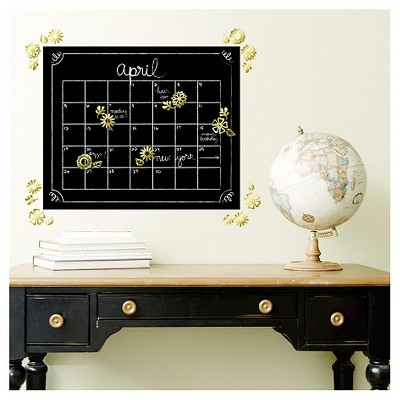 XL Decal Chalk Calendar with 3D Gold Flowers
