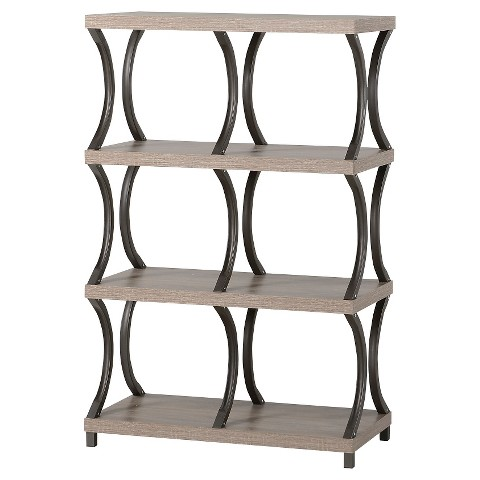 Shelf 6 Compartment Wood Metal Bookcase - Homestar product details ...