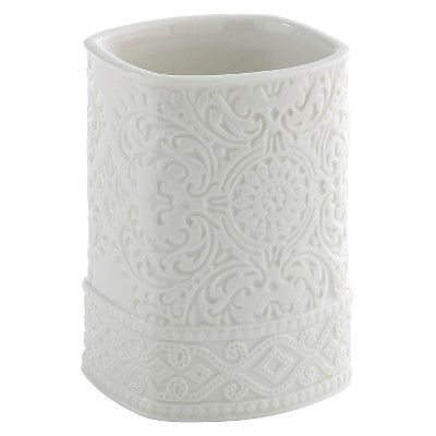Kassatex Damask Accessories Tumbler - White