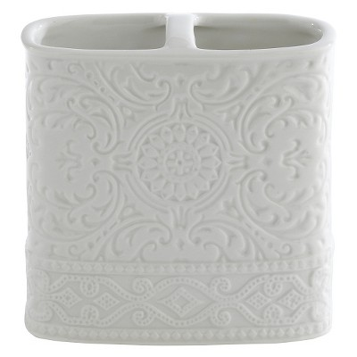 Kassatex Damask Accessories Toothbrush Holder - White