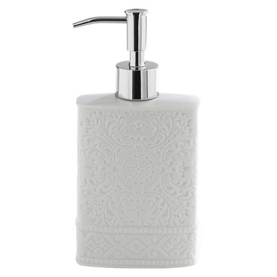 Kassatex Damask Accessories  Lotion Dispenser - White