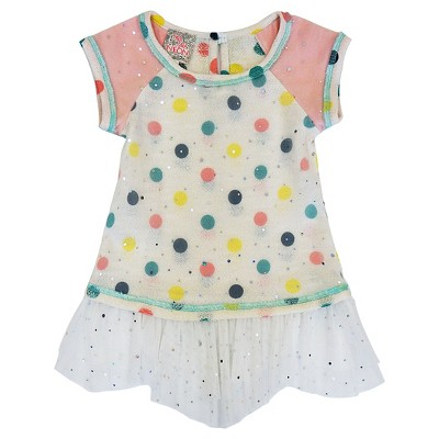Toddler Girls' Sara Sara Neon Polka Dot Tunic Top - Multi-colored 2T