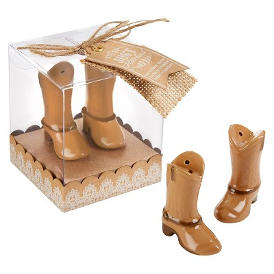 """Kate Aspen """"Just Hitched"""" Ceramic Cowboy Boot Salt and Pepper Shakers - (Set of 12)"""