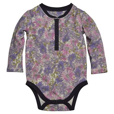 Burts Bees Baby™ Newborn Girls' Henley Floral Bodysuit - Orchid 3-6 M