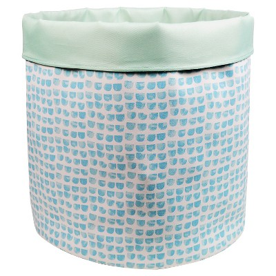 Reversible Canvas Floor Bin Round Aqua Thumbprint - Pillowfort™