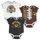 Missouri Tigers Newborn/Infant Boys 3pk Body Suit 0-3 M