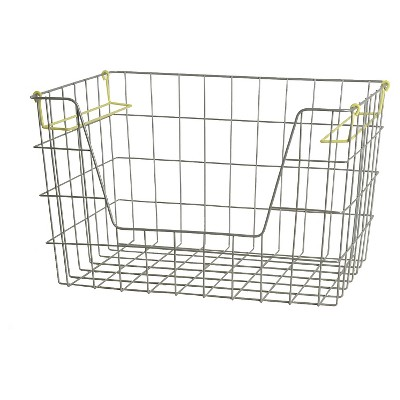 Wire Stackable Bin Large Lime - Pillowfort™