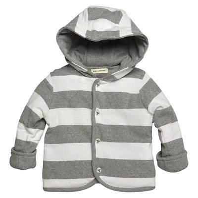 Burts Bees Baby™ Newborn Stripe Hoodie - White/Grey 3-6 M