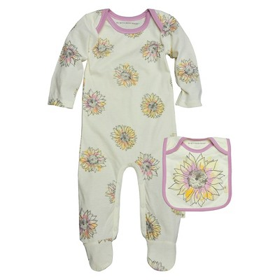 Burts Bees Baby™ Newborn Girls' Floral Coverall and Bib Set - Ivory 3-6 M