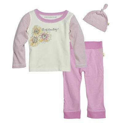 Burts Bees Baby™ Newborn Girls' 3 Piece Set - Orchid NB