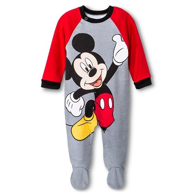 Mickey Mouse Newborn Boys' Coveralls - Grey 0-3 M