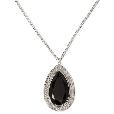 "Women's Long Fashion Teardrop Necklace - Silver/Black (30"")"