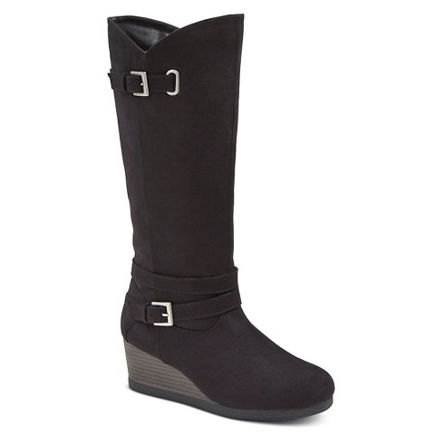 covergirl buckled fashion wedge boots target