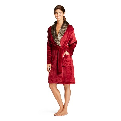Women's Plush Faux Fur Trim Robe - Hotel Spa - Burgundy -  L/XL
