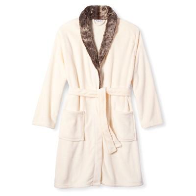 Women's Plush Faux Fur Trim Robe - Hotel Spa - White -  S/M