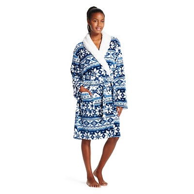 Women's Plush Faux Sherpa Trim Robe - Hotel Spa - Blue Fairisle -  L/XL