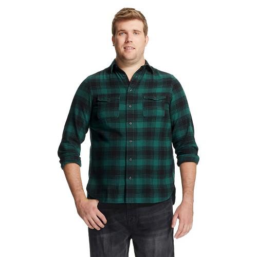 Men 39 S Big Tall Flannel Shirt Dark Green Plaid Mossimo