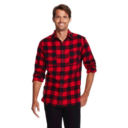 Men 39 s big tall flannel shirt red buffalo plaid mossimo for Red and white plaid shirt mens