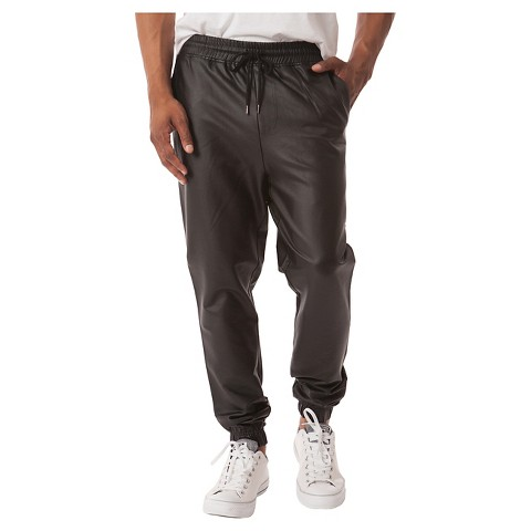 Southpole Black Synthetic Leather Pants Black Joggers Zipper Ankle Mens Size 3XL SOUTHPOLE SYNTHETIC LEATHER JOGGER PANTS MEN'S SIZE XXL BLACK IN COLOR ELASTIC WAIST WITH DRAWSTRING MATERIAL IS % POLYURETHANE ACTUAL MEASUREMENTS ARE: WAIST 36