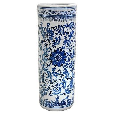 "Porcelain Umbrella Stand - Blue/White (24"")"