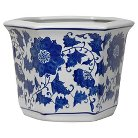 "Porcelain Flower Pot - Blue/White (10"")"