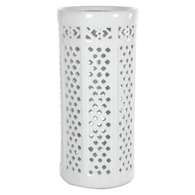 "Carved Lattice Decorative Umbrella Stand - White (17"")"