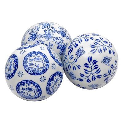 "Decorative Porcelain Ball Set - Blue/White (4"")"