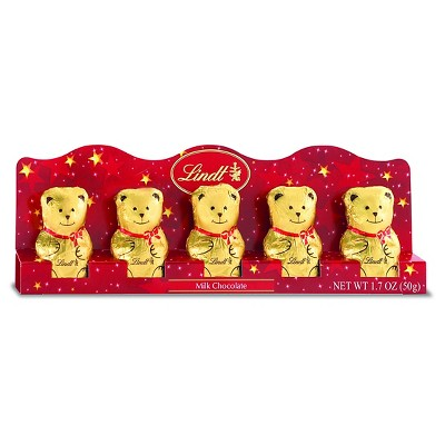 Lindt Bears Milk Chocolate Holiday 5 Pack 1.7oz