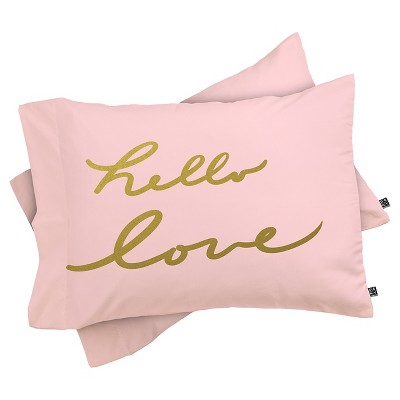 DENY Designs Lisa Argyropoulos Hello Love Lightweight Pillowcase - Pink (Standard)