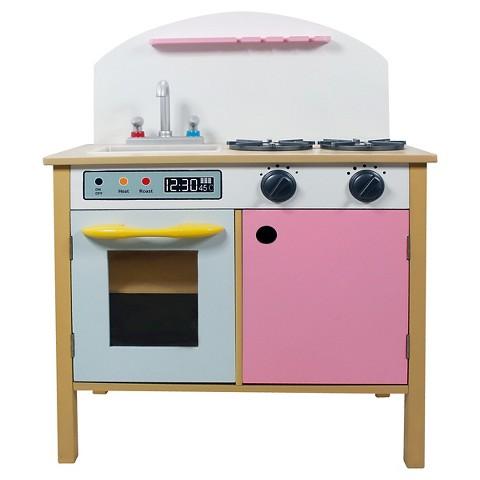 Teamson Kids Pink Play Kitchen With Dual Doors Target