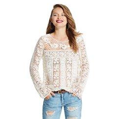 XHIL LS Crochet Top Natural