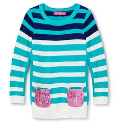 Toddler Girls' U-Knit Striped Tunic Sweater - Blue