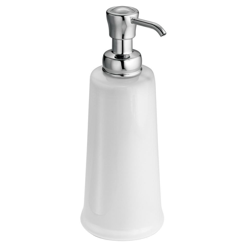 InterDesign York Ceramic Soap Pump - White/Chrome (White/Grey) (12 oz.)