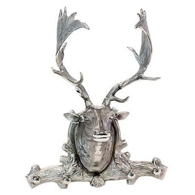 """Go Home Deer Head Hooks Wall Sculpture - 21""""Hx18""""Wx8""""D - Silver"""