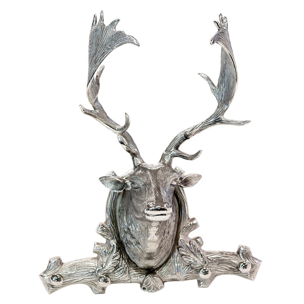 "Decorative Cabin Deer Head Hooks Wall Sculpture- Silver (13 X 11.5 X 26"")"