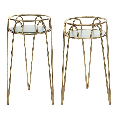 Round Metal Plant Stand with Blue Top (Set of 2) - Gold