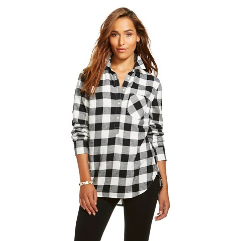 Women's Plaid Flannel Popover Favorite Shirt - Merona™