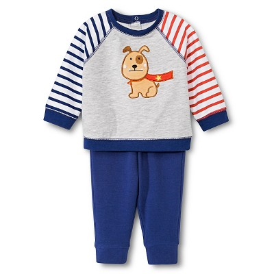 Happi by Dena™ Boys' Top and Bottom Sets Grey/Navy 0-3M