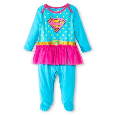 Supergirl Newborn Girls' Coveralls with Tutu - Blue 3-6 M