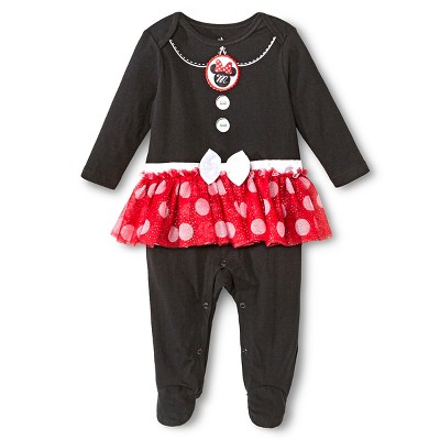 Minnie Mouse Newborn Girls' Coveralls - Black 3-6 M