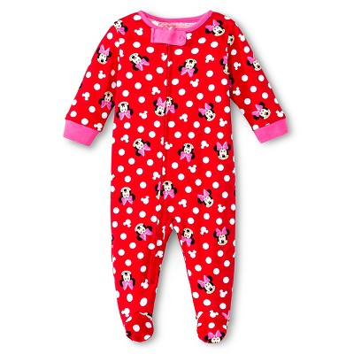 Disney Minnie Girls' Footed Sleepers Red 0-3M