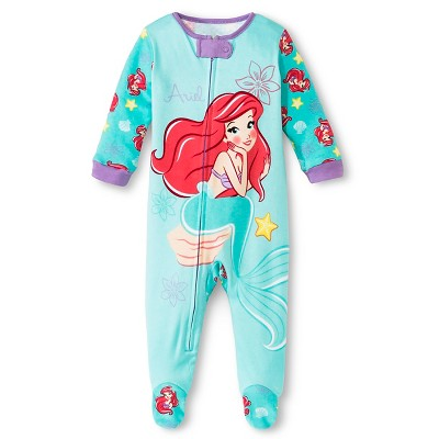 Disney Ariel Girls' Footed Sleepers Turquoise 0-3M