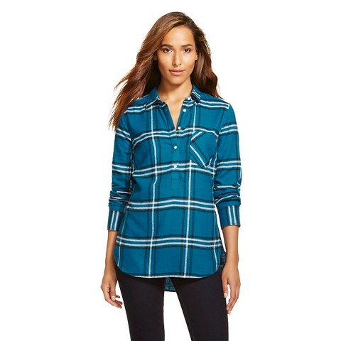 women 39 s plaid flannel popover favorite shirt m target