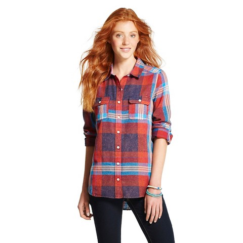Women 39 s flannel plaid shirt mossimo supply co target for Womens christmas flannel shirt