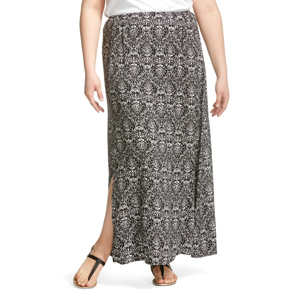 plus size printed side slit maxi skirt black white