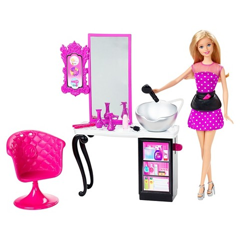 Barbie malibu ave salon with barbie doll playset target for Achat salon de coiffure