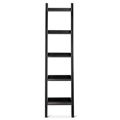 Lowry Narrow Leaning Bookcase - Black