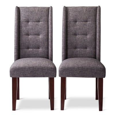 Charlie Modern Wingback Pin Tuck Dining Chair - Gray (Set of 2)