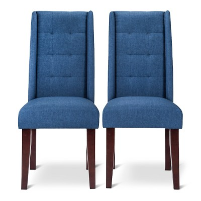 Charlie Modern Wingback Pin Tuck Dining Chair - Navy (Set of 2)