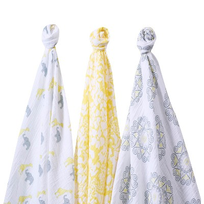 Ecom Swaddle Blanket SwaddleDesigns Yellow Bliss 3 Pk